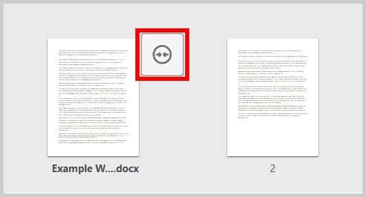Collapse button in the expanded view of combined files in Adobe Acrobat