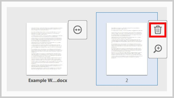 Delete button in expanded view of combined files in Adobe Acrobat