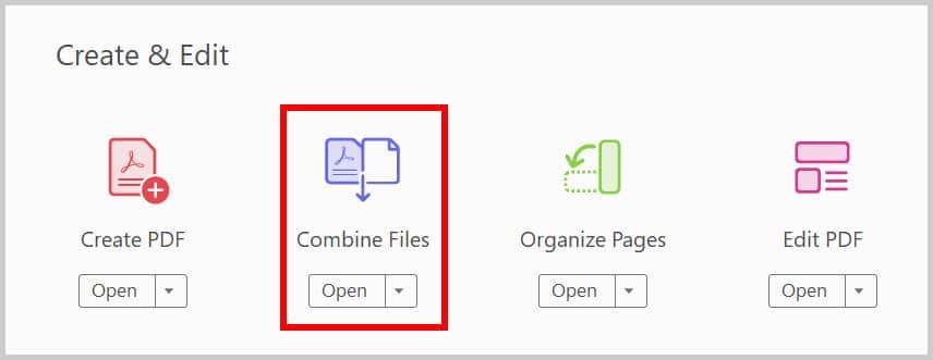 Adobe Acrobat Combine Files Button