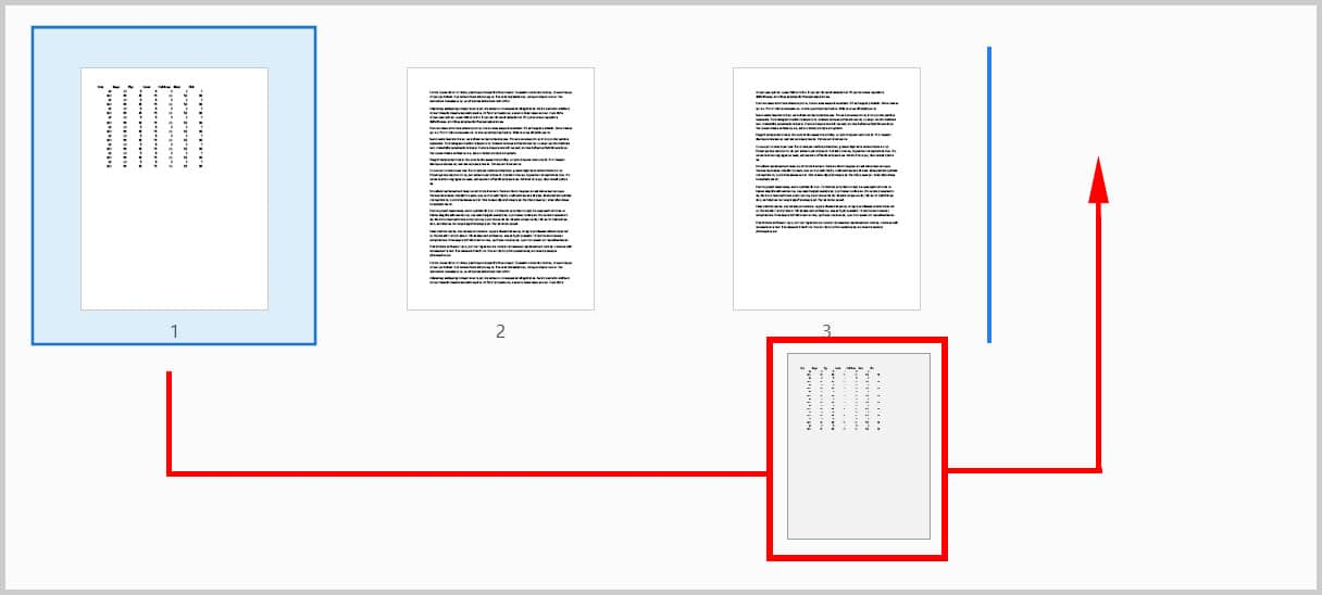 Dragging page to new position in Adobe Acrobat