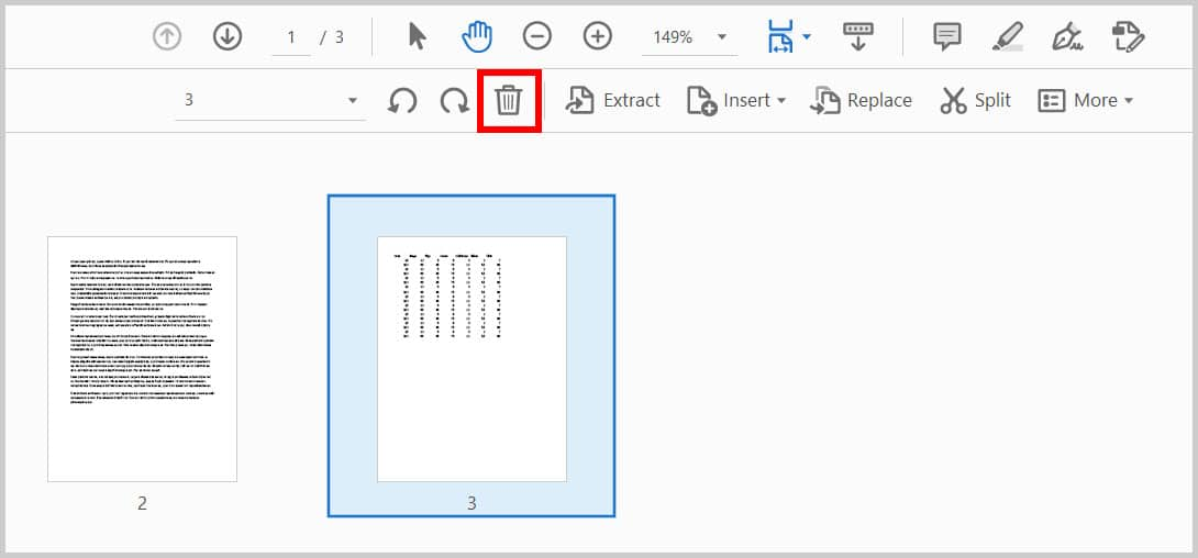 Delete button in the Organize Pages toolbar in Adobe Acrobat