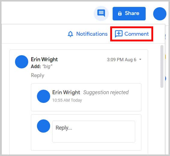 Comment button in the Comment History in Google Docs