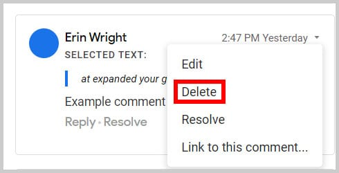 Delete option in the Comment History in Google Docs