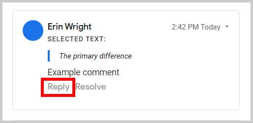Comment Reply option in the Comment History in Google Docs