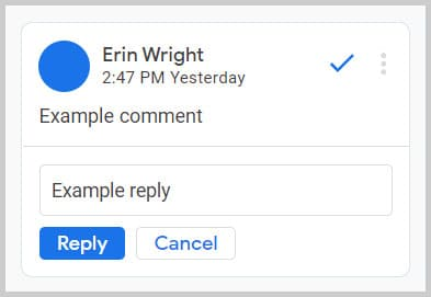 Comment reply text box in Google Docs