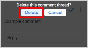 """Delete this comment thread?"" dialog box in Google Docs"