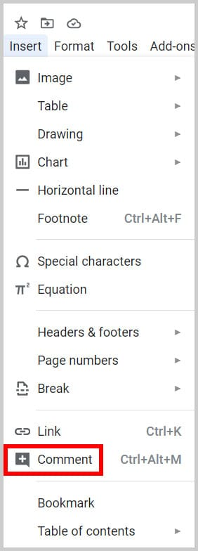 Google Docs Insert menu Comment option