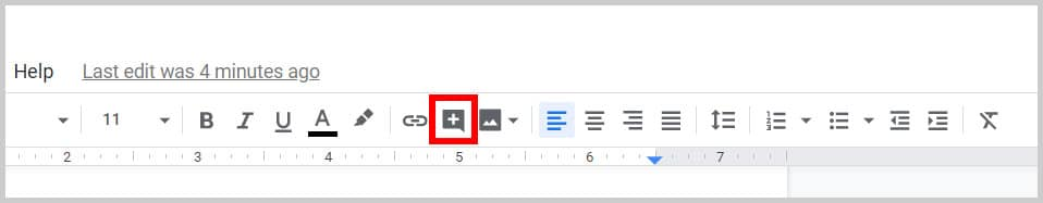 Comment button in the Google Docs toolbar