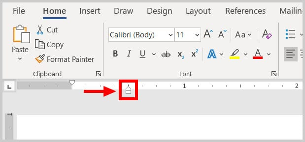 Bottom ruler marker in Word 365