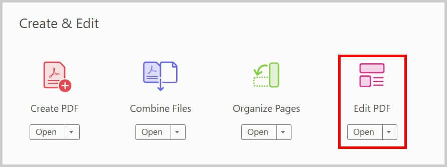 Edit PDF button in the Tools Center in Adobe Acrobat