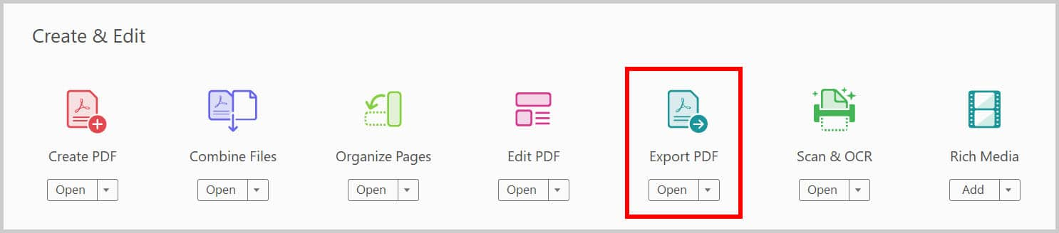Export PDF button in Adobe Acrobat