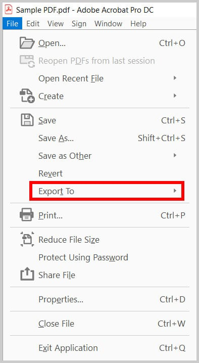 Export To option in Adobe Acrobat
