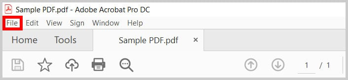 File tab in Adobe Acrobat