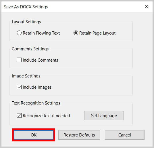 OK button in the Save As DOCX Settings dialog box in Adobe Acrobat