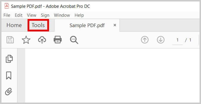 Tools tab in Adobe Acrobat