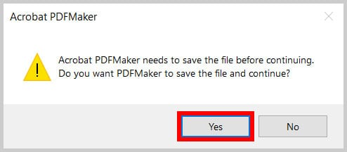 Acrobat PDFMaker alert box