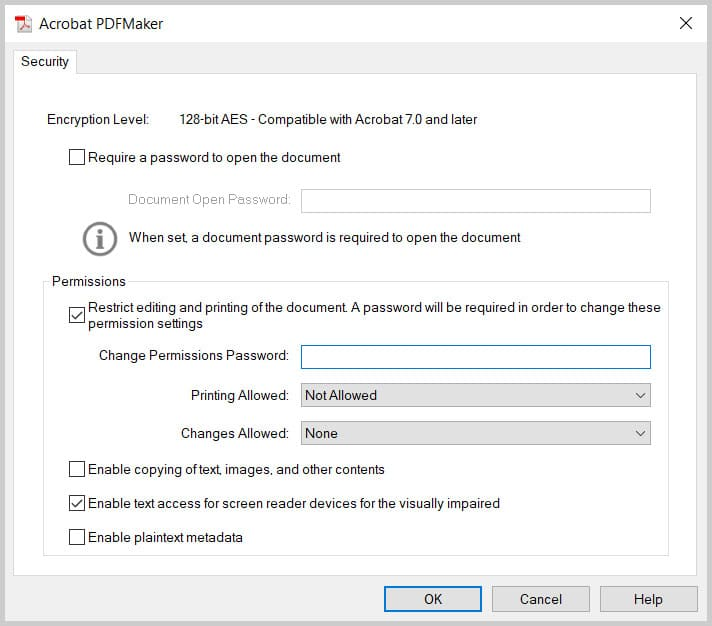 Acrobat PDFMaker Security dialog box