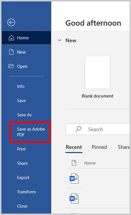 """Save as Adobe PDF"" option in the Backstage view of Word 365"