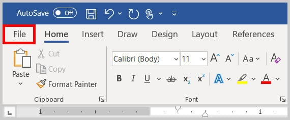 File tab in Word 365