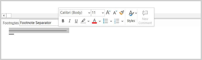 Footnotes pane with shortcut menu in Word 365