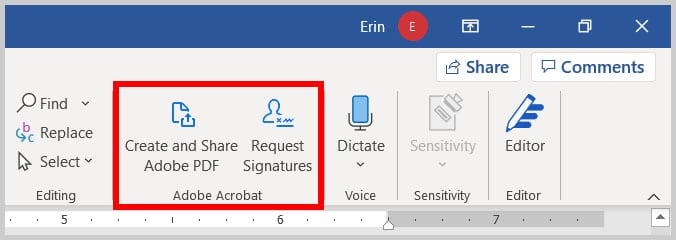 Adobe Acrobat group in the Home tab of Word 365