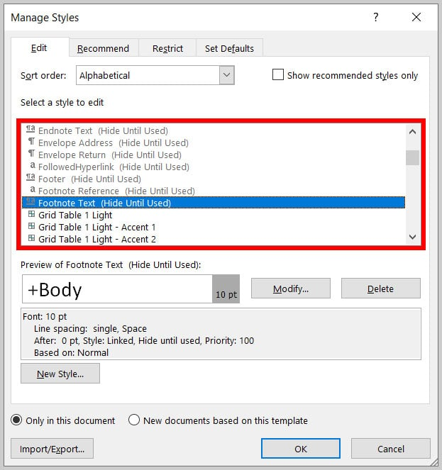 """Select a style to edit"" menu in the Manage Styles dialog box in Word 365"