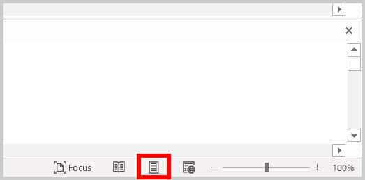 Print Layout button in Word 365