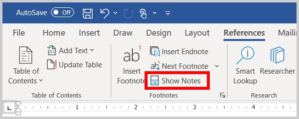 Show Notes button in Word 365