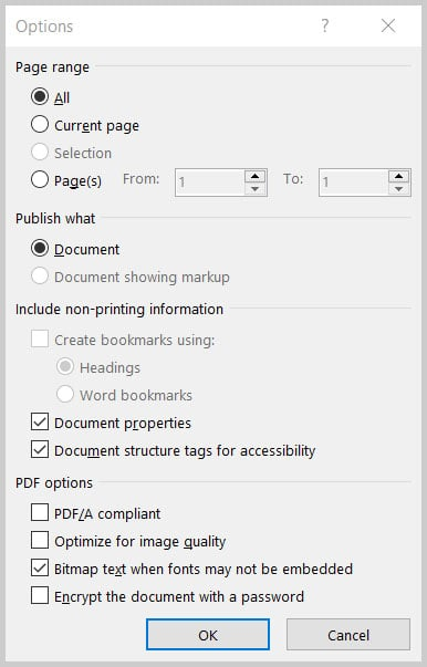 Save As Options dialog box in Word 365
