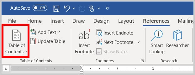 Table of Contents button in Word 365