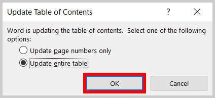 OK button in the Update Table of Contents dialog box in Word 365