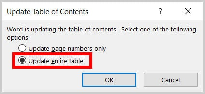 Update entire table option the Update Table of Contents dialog box in Word 365