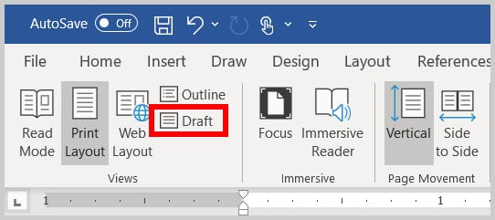 Draft button in Word 365