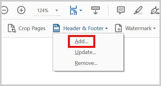 Header & Footer Add option in Adobe Acrobat