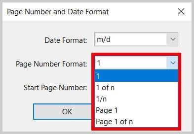 Page Number Format menu in Adobe Acrobat