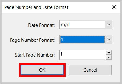 OK button in the Page Number and Date Format dialog box in Adobe Acrobat