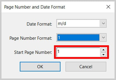 Start Page Number Textbox in Adobe Acrobat