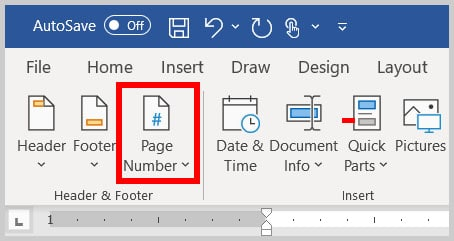 Page Number button in the Header and Footer tab in Word 365