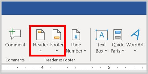 Header and Footer buttons in Word 365