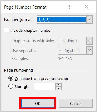 OK button in the Page Number Format dialog box on Word 365