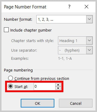 """Start as"" page number menu in Word 365"