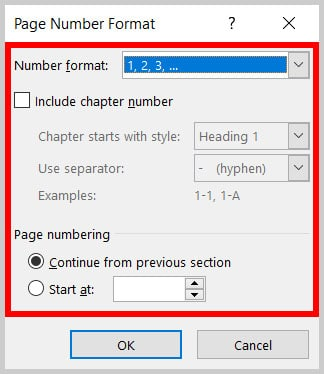 Page Number Format dialog box in Word 365