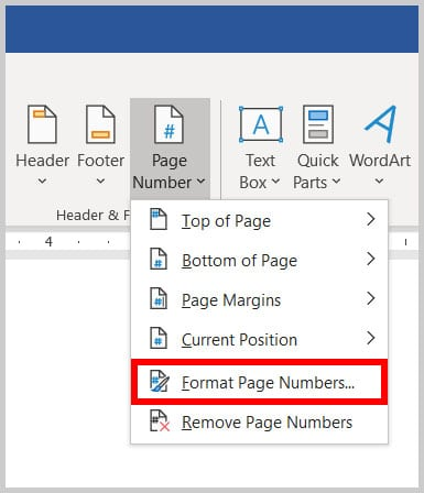 Format Page Numbers option in Word 365