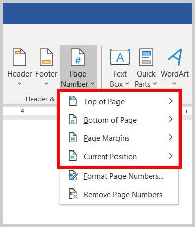 Page number menu in Word 365