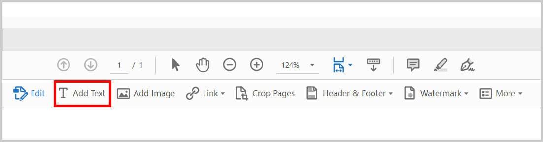 Add Text button in Adobe Acrobat