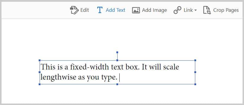 Fixed-width text box in Adobe Acrobat