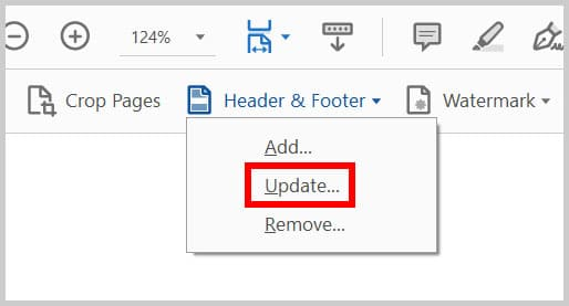 Update header and footer option in the Adobe Acrobat