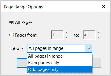 Subset menu in the Page Range Options dialog box in Adobe Acrobat