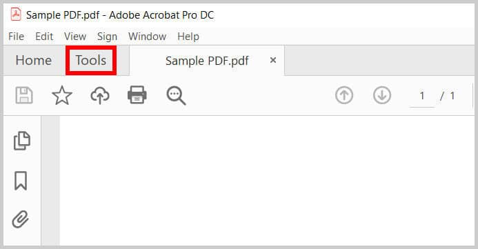 Tools tab in Adobe Acrobat