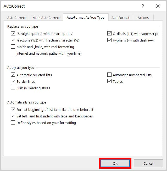 AutoCorrect dialog box OK button in Word 365
